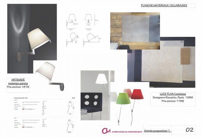 Planche de matériaux et éclairages