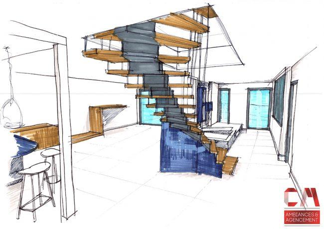 Perspective sur escalier